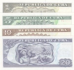 Cuba, 1 Peso, 5 Pesos, 10 Pesos and 20 Pesos, 2011/2014, UNC, (Total 4 banknotes)