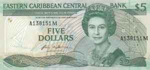 East Caribbean States, 5 Dollars, 1986-1988, UNC, p18m