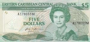East Caribbean States, 5 Dollars, 1985, UNC, p18m
