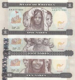 Eritrea, 1 Nakfa, 5 Nakfa and 10 Nakfa, 1997, UNC, p1/p2/p3, (Total 3 banknotes)