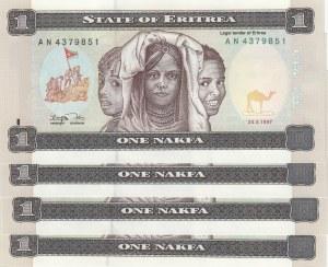 Eritrea, 1 Nakfa, 1997, UNC, p1, (Total 4 consecutive banknotes)