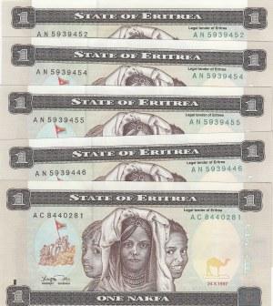Eritrea, 1 Nakfa, 1997, UNC, p1, (Total 5 banknotes)