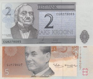 Estonia, 2 Krooni and 5 Krooni, 2006/1994, UNC, p85/p76, (Total 2 banknotes)