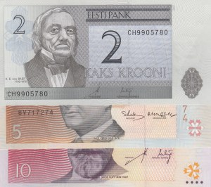 Estonia, 2 Krooni, 5 Krooni and 10 Krooni, 2007/ 1994/ 2007, UNC, (Total 3 Banknotes)