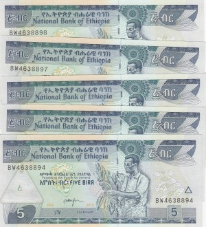 Ethiopia, 5 Birr, 2005/ 2013, UNC, p47f, (Total 5 Consecutive Banknotes)