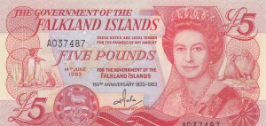 Falkland Islands, 5 Pounds, 1983, UNC, p12a