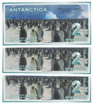 Antarctica, 2 Dollars, 1996, UNC, (Total 3 Banknotes)