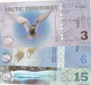 Arctic Territories, 3 Dollars, 6 Dollars and 15 Dollars, 2011/ 2013/ 2011, UNC