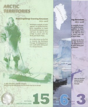 Arctic Territories, 3 Dollars, 6 Dollars and 15 Dollars, 2011/ 2013/ 2011, UNC