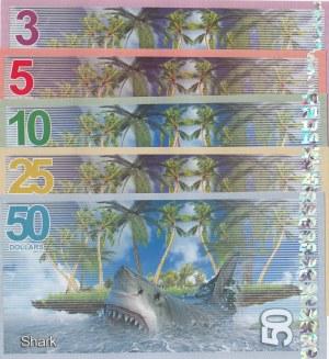 Tropical Birds lot, 3 Dollars, 5 Dollars, 10 Dollars, 25 Dollars and 50 Dollars, 2017, UNC, FANTASY BANKNOTES, (Total 5 banknotes)