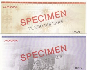 South Korea, Dokdo Island, 1000 Dollars and 10.000 Dollars, 2013, UNC, SPECIMEN, (Total 2 banknotes)