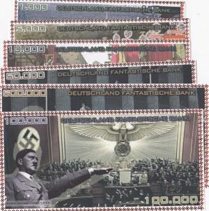 Fantasy banknotes, Adolf Hitler, 1.000 Mark, 5.000 Mark, 10.000 Mark, 50.000 Mark, 500.000 Mark and 1.000.000 Mark, UNC, (Total 6 banknotes)