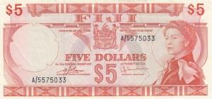 Fiji, 5 Dollars, 1974, AUNC, p73c