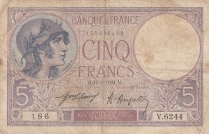 France, 5 Francs, 1921, FINE, p72b