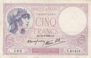 France, 5 Francs, 1939, VF, p83