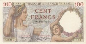 France, 100 Francs, 1939, AUNC, p94