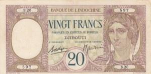 French Somaliland, Djibouti, 20 Francs, 1928, XF, p7b