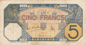 French West Africa, 5 Francs, 1932, FINE, p5Bf