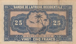 French West Africa, 25 Francs, 1942, FINE, p30a