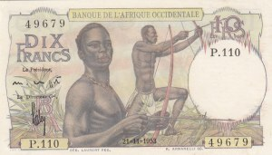 French West Africa, 10 Francs, 1953, UNC, p37