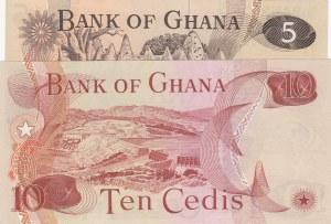 Ghana, 5 Cedis and 10 Cedis, UNC, p15b/ p16f, ( Total 2 Banknotes)