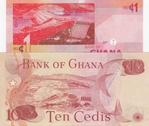 Ghana, 10 Cedis and 1 Cedi, 1978/ 2015, UNC, p16f/ p37f, (Total 2 Banknotes)