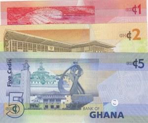 Ghana, 1 Cedi, 2 Cedis and 5 Cedis, UNC, p37d/ p37Aa/ p38e, (Total 3 Banknotes)