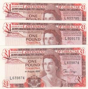 Gibraltar, 1 Pound, 1988, UNC, p20e, (Total 3 Banknotes)