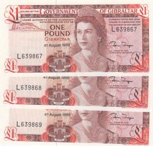 Gibraltar, 1 Pound, 1988, UNC, p20e, (Total 3 Consecutive Banknotes)