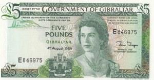 Gibraltar, 5 Pounds, 1988, UNC, p21b