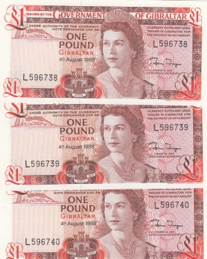 Gibraltar, 1 Pound, 1988, UNC, p20d, (Total 2 Consecutive Banknotes)