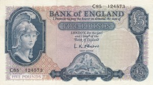 Great Britain, 5 Pounds, 1957-1961, UNC, p371a