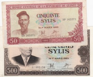 Guinea, 50 Francs and 500 Francs, 1980, XF/ AUNC, p25a/ 27a, (Total 2 Banknotes)