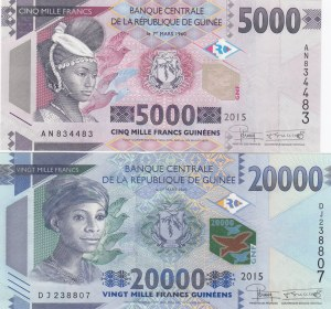 Guinea, 5.000 Francs and 20.000 Francs, 2015, UNC, p49 and p50, (Total 2 banknotes)
