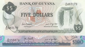 Guyana, 5 Dollars ve 100 Dollars, 1989, UNC, p22e/ p28, (Total 2 Banknotes)