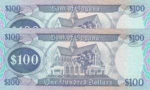 Guyana, 100 Dollars, 1989, UNC, p28, (Total 2 Consecutive Banknotes)