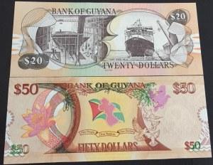 Guyana, 20 Dollars and 50 Dollars, UNC, p30/ p41, (Total 2 Banknotes)