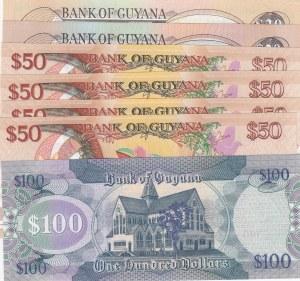 Guyana, 7 Pieces UNC Banknotes