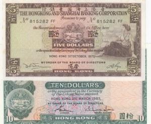 Hong Kong, 10 Dollars and 5 Dollars, 1983/ 1973, UNC, p182j/ p181f