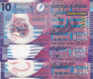 Hong Kong, 10 Dollars, 2002/ 2007/ 2012, UNC, p400a/ p401a/ p401c, (Total 3 Banknotes)