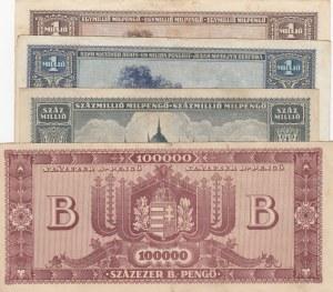 Hungary, 100.000 Pengö, 1.000.000 Pengö (2) and 100.000.000 Pengö, VF / XF, (Total 4 banknotes)