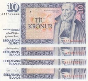 Iceland, 10 Kronurs, 1961, UNC, p48a, (Total 4 Banknotes)