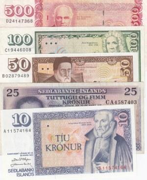 Iceland, 10 Kronurs, 25 Kronurs, 50 Kronurs, 100 Kronurs ve 500 Kronurs, UNC / AUNC, p48a/ p43/ p49a/ p50a/ p51a (Total 5 Banknotes)