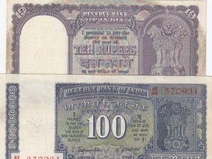 India, 10 Rupees and 100 Rupees, 1962-67/ 1977, FINE, p57a/ p64, (Total 2 Banknotes)