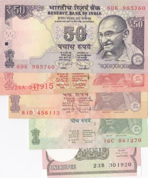 India, 1 Rupee, 5 Rupees, 10 Rupees, 20 Rupees and 50 Rupees, 2010/2017, UNC, (Total 5 banknotes)