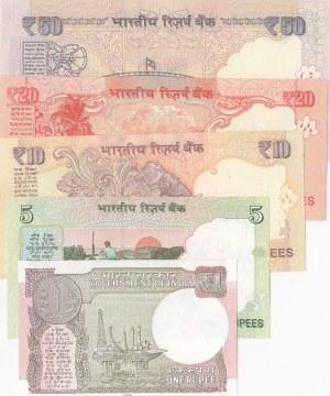 India, 1 Rupee, 5 Rupees, 10 Rupees, 20 Rupees and 50 Rupees, 2010/2017, UNC, (Total 5 banknotes)