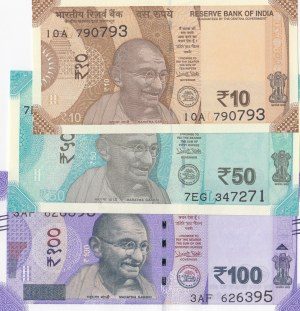 India, 10 Rupees, 50 Rupees and 100 Rupees, 2017/2018, UNC, (Total 3 banknotes)