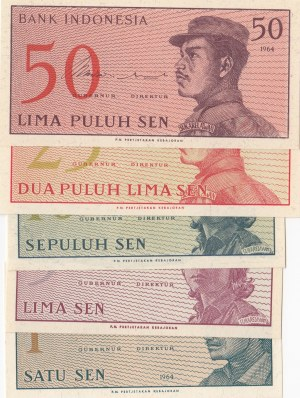 Indonesia, 1 Sen, 5 Sen, 10 Sen, 25 Sen and 50 Sen, 1964, UNC, p90 … p94, (Total 5 banknotes)