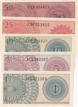 Indonesia, 1 Sen, 5 Sen, 10 Sen, 25 Sen and 50 Sen, 1964, UNC, p90 … p94, (Total 5 banknotes)