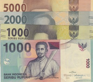 Indonesia, 1000 Rupiah, 1000 Rupiah, 2000 Rupiah and 5000 Rupiah, 2012/2016, UNC, (Total 4 Banknotes)